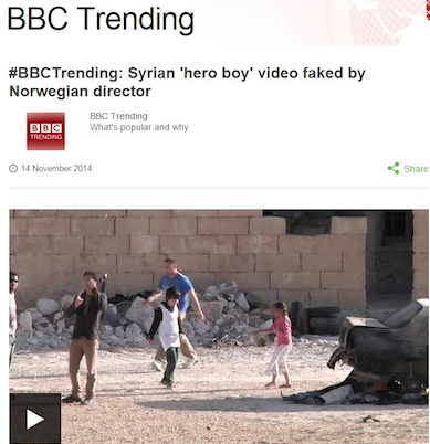 "Figure 1: BBC debunking report for a viral video about a Syrian ""hero boy"" - Source: BBCNews"