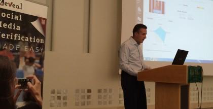 Nikos Sarris presenting REVEAL. Image by Jochen Spangenberg