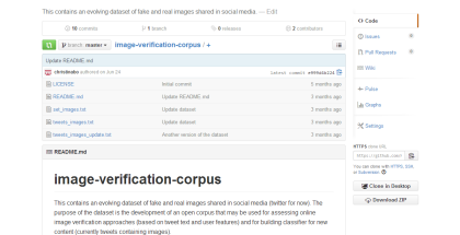Image Verification Corpus on GitHub