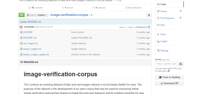 Image Verification Corpus Released