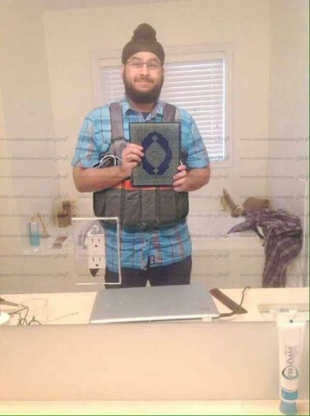 Figure 3. Debunked photoshopped image of a 'terrorist' that went viral. Source @GrasswireFacts